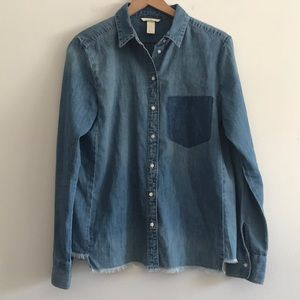 H j M Chambray Button Down Frayed Size 10